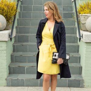Everlane yellow Japanese go-weave wrap dress sz 6